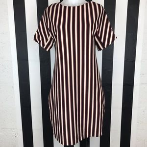Mango Suit Red Black Striped Midi Dress